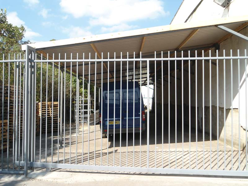 Steel Roof Shelter and Electric Sliding Gate for Wembley Warehouse